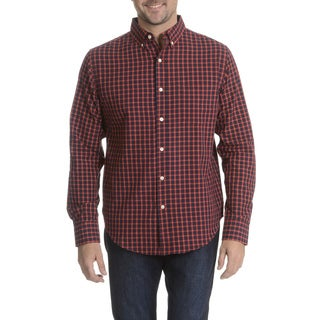 Reed Edward Men's Red Plaid Long Sleeve Collared Shirt