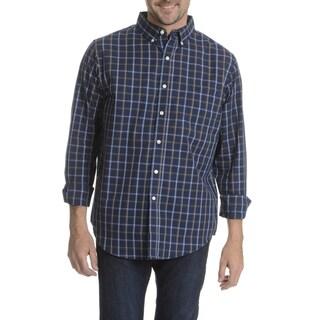 Narragansett Traders Men's Dark Blue Plaid Long Sleeve Collared Shirt