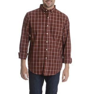 Narragansett Traders Men's Burgundy Plaid Long Sleeve Collared Shirt