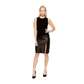 Bailey44 Women's Pozzoli Sleeveless Black Dress with Leather Bottom