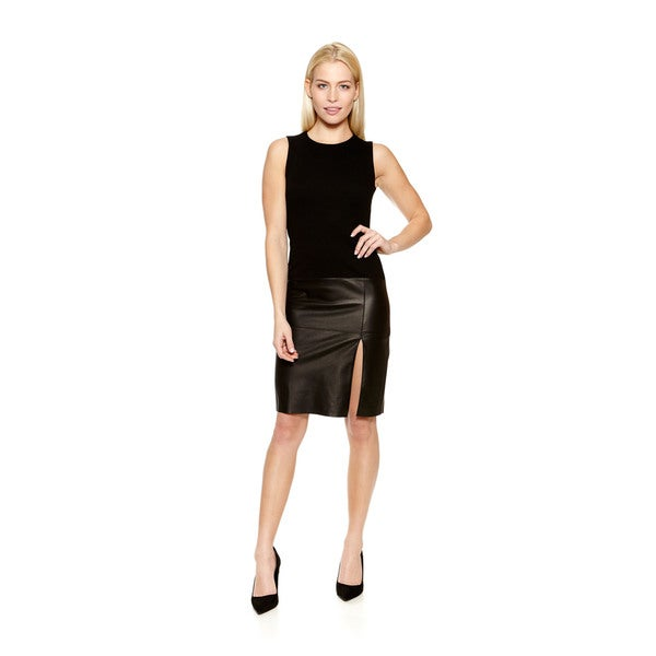 Women's Pozzoli Sleeveless Black Dress with Leather Bottom