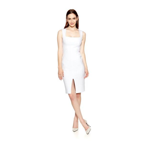 Women's Sophia White Dress with Front Slit