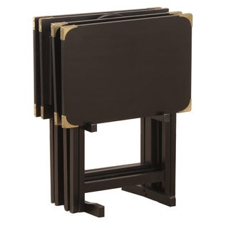 Bombay Outlet Black TV Tray Set with Brass Corners