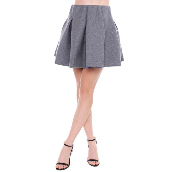 BestOn Chic Juniors' Charcoal Bonded Scuba Circle Skirt with Blue Lining