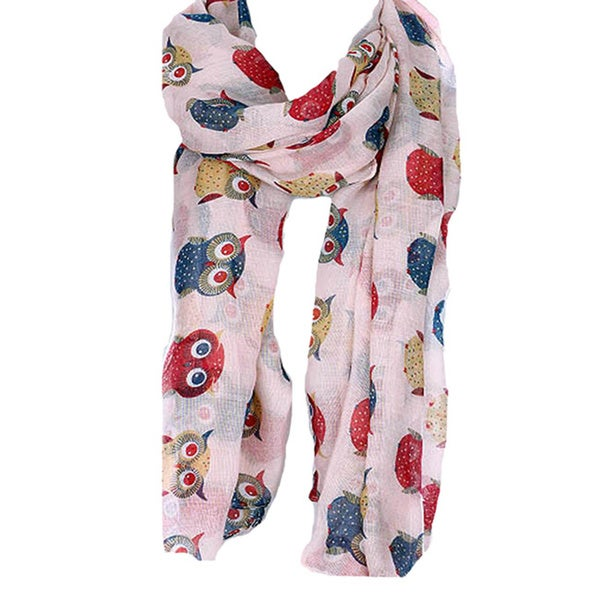 Colorful Owl Print Oblong Scarf
