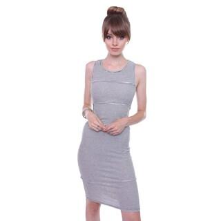 May Pink Juniors' Minimal Black/ White Striped Midi Dress