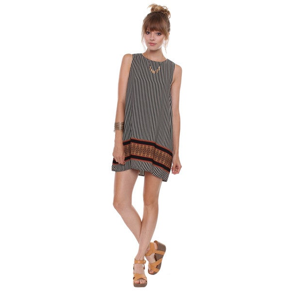 BestOn Chic Juniors' Striped Mod Dress With Aztec Border