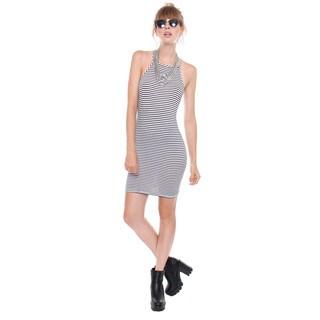 BestOn Basics Juniors' Black/ White Striped Square Neck Mini Slip Dress