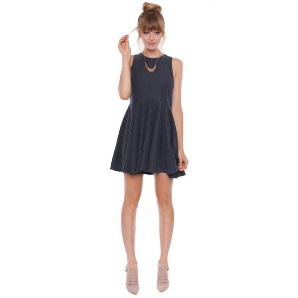 BestOn Chic Juniors' Dusty Blue Sleeveless Suede Dress