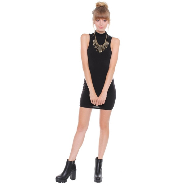 Juniors' Contemporary Black Cut-Out Mini Dress