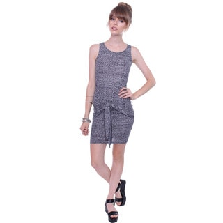 Poetry Juniors' Ribbed Grey Bodycon Dress With Front Tie Knot