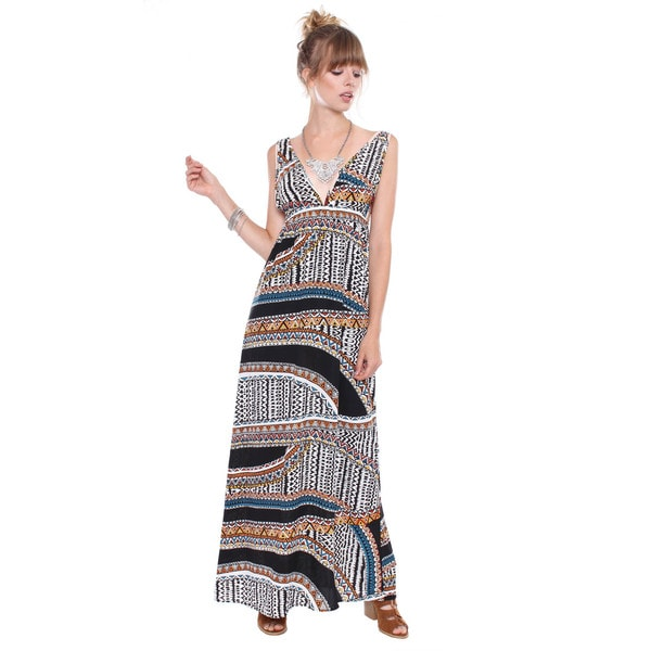 Juniors' Contemporary Ethnic Print Long Maxi Dress