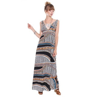 Juniors' Contemporary Ethnic Print Long Maxi Dress