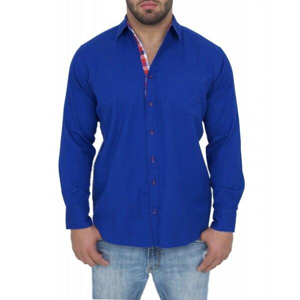 Giorgio Men's Tailored Fit Blue Solid Linen Blend Brato Casual Shirt
