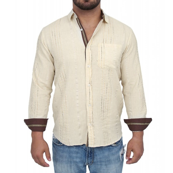 Giorgio Men's Tailored Fit Beige Solid Linen Blend Brato Casual Shirt