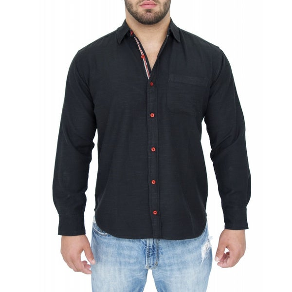 Giorgio Men's Tailored Fit Black Solid Linen Blend Brato Casual Shirt