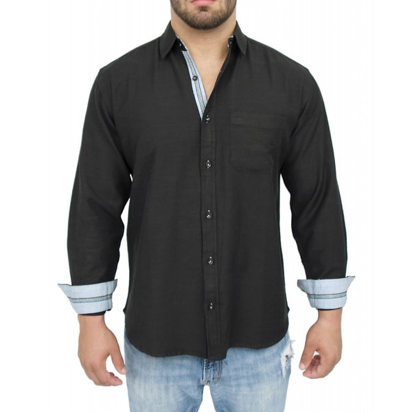 Giorgio Men's Tailored Fit Black Solid Linen Blend Brato Casual Shirt