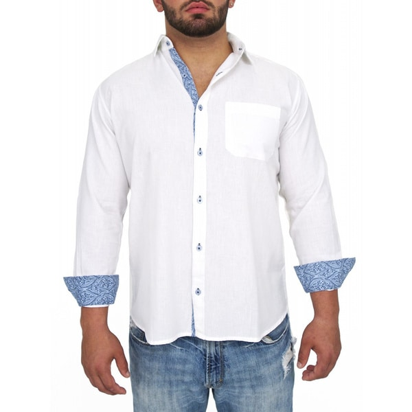Giorgio Men's Tailored Fit White Solid Linen Blend Brato Casual Shirt