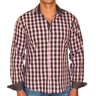 Giorgio Men's Slim Fit Pink/ Brown Plaid Pure Cotton Brato Casual Shirt