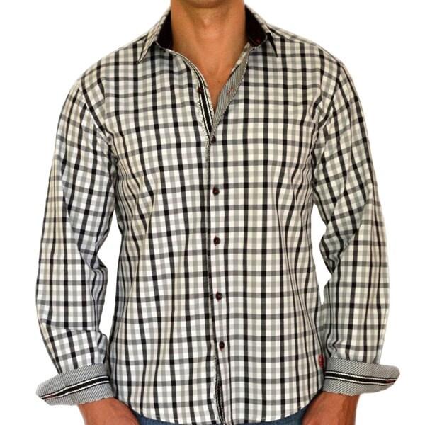 Giorgio Men's Slim Fit Grey Plaid Pure Cotton Brato Casual Shirt