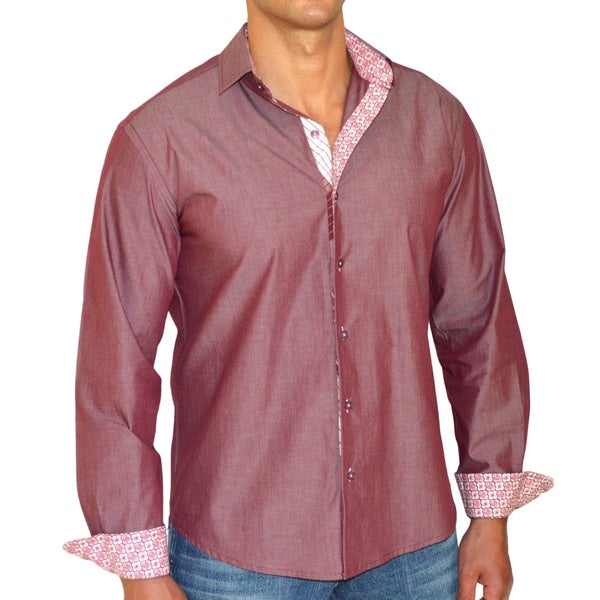 Giorgio Men's Slim Fit Red Solid Pure Cotton Brato Casual Shirt
