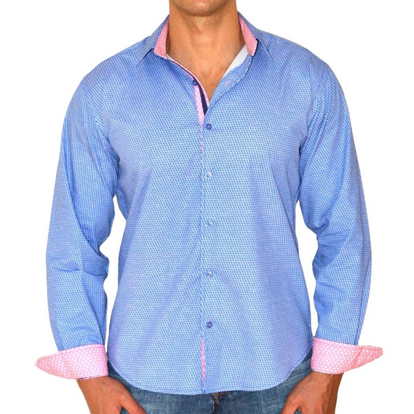 Giorgio Men's Slim Fit Blue Plaid Pure Cotton Brato Casual Shirt