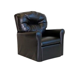 Dozydotes Contemporary Child Rocker Recliner Chair - Black Leather Like
