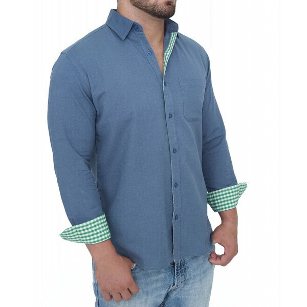Giorgio Men's Tailored Fit Blue Solid Linen Blend Brato Casual Shirt