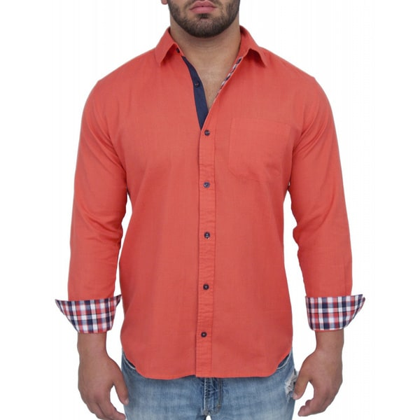 Giorgio Men's Tailored Fit Orange Solid Linen Blend Brato Casual Shirt