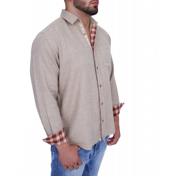Giorgio Men's Tailored Fit Blue/ Beige Solid Linen Blend Brato Casual Shirt