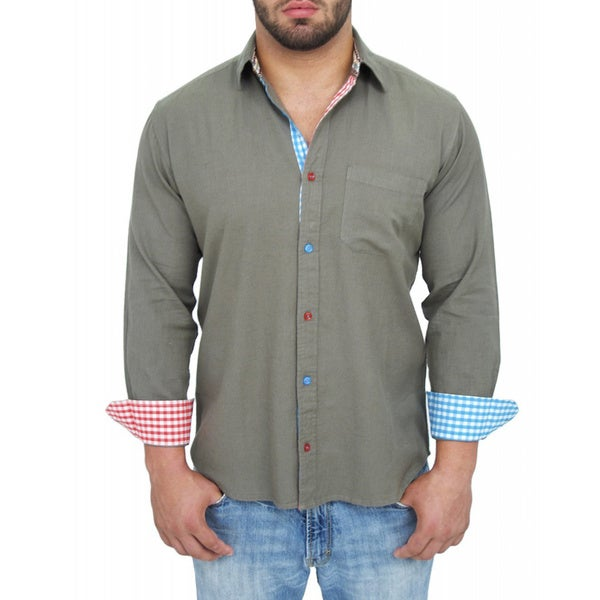 Giorgio Men's Tailored Fit Grey Solid Linen Blend Brato Casual Shirt