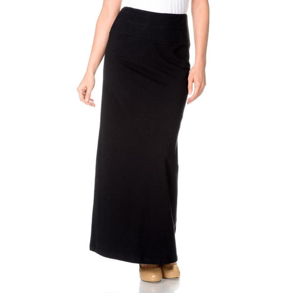 Teez=Her Women's Instant Smooth and Slim Stretch Jersey Full Length Maxi Skirt with Hidden Smoothing Panel in Black (As Is Item)