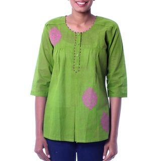 Handcrafted Cotton Blouse 'Gujrati Green' (India)