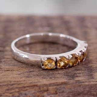 Handcrafted Sterling Silver 'Forever Sunshine' Citrine Ring (India)
