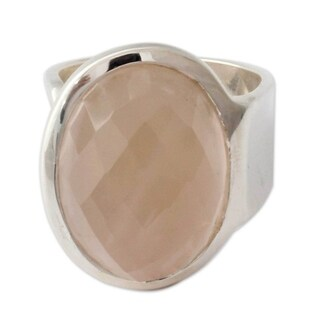 Handcrafted Sterling Silver 'Jaipur Opulence' Rose Quartz Ring (India)