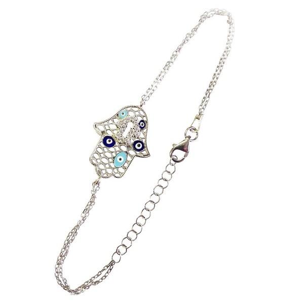 Sterling Silver Evil Eye Hamsa Light and Dark Blue Bracelet