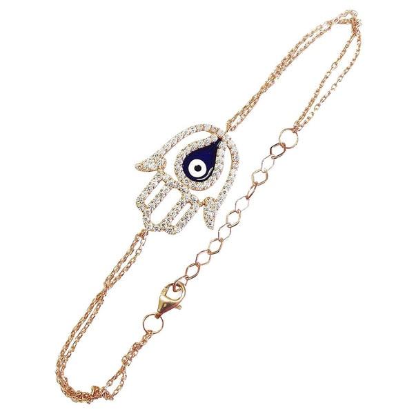 Gold over Silver Evil Eye Hamsa 2-strand Bracelet