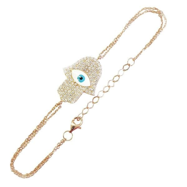 Gold over Silver Cubic Zirconia Evil Eye Hamsa Charm Bracelet