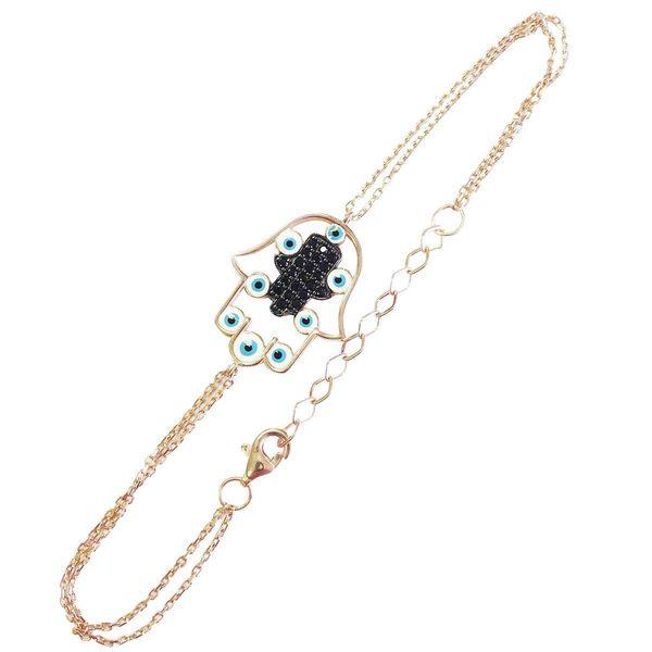 Gold over Silver Evil Eye Hamsa Bracelet