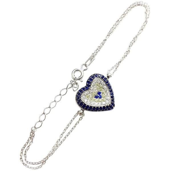 Sterling Silver Cubic Zirconia Evil Eye Heart Bracelet