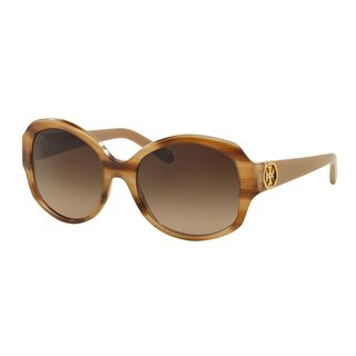 Tory Burch Women's TY7085 Brown Plastic Oval Gradient Sunglasses