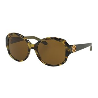 Tory Burch Women's TY7085 Olive Plastic Oval Sunglasses