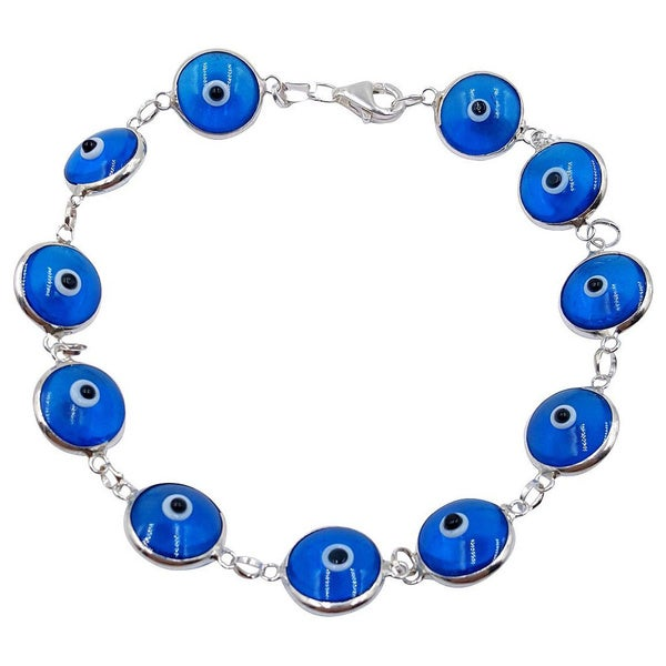 Sterling Silver Evil Eye Multi-bead Bracelet