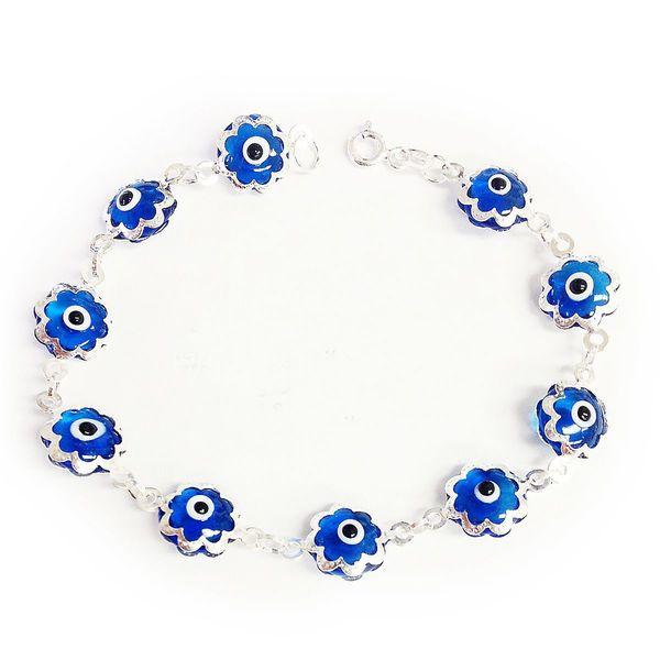 Sterling Silver Evil Eye Blue Swirl Bracelet