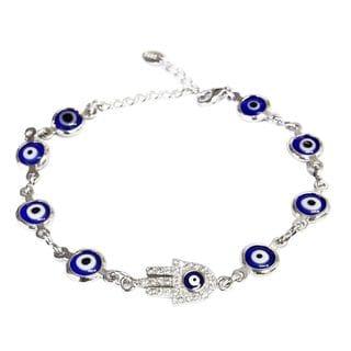 Sterling Silver Cubic Zirconia Purple Evil Eye Bracelet