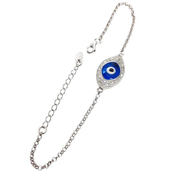 Sterling Silver Single Evil Eye Bracelet