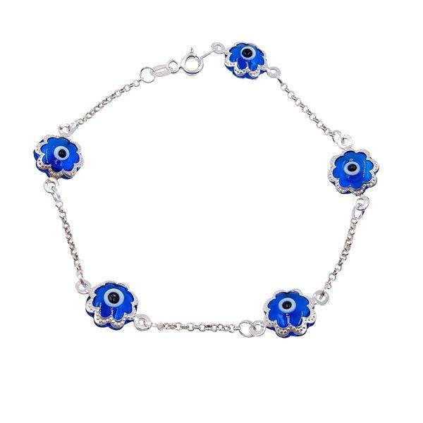 Sterling Silver Evil Eye 5-charm Bracelet