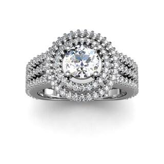 2.00 Carat Double Halo Engagement Ring In 14K White Gold (H-I, I1-I2)
