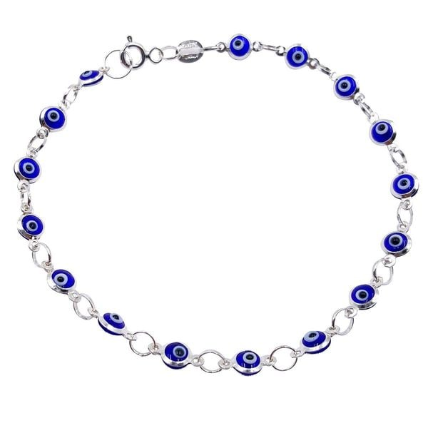 Sterling Silver Evil Eye Multi-color Cut-out Bead Bracelet
