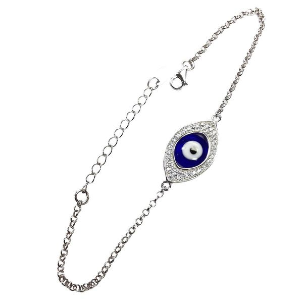Sterling Silver Evil Eye Small Pendant Bracelet